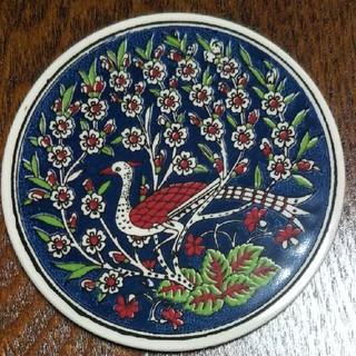 トルコ    孔雀のタイルコースター