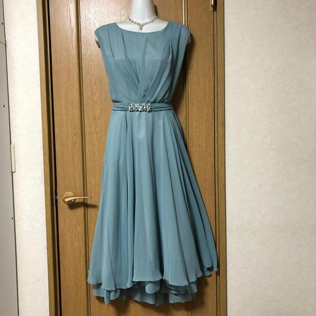 LAISSE PASSE(レッセパッセ)の新品 HARYU パールベルトミモレ丈パーティードレス ブルー 結婚式 レディースのフォーマル/ドレス(ロングドレス)の商品写真