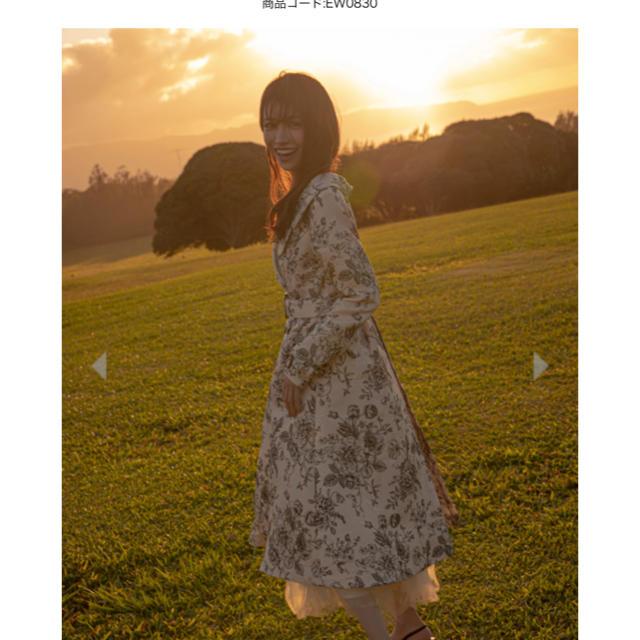 EmiriaWiz(エミリアウィズ)のエミリアウィズ アンティークフラワージャガードフレアコート ベージュ レディースのジャケット/アウター(ロングコート)の商品写真