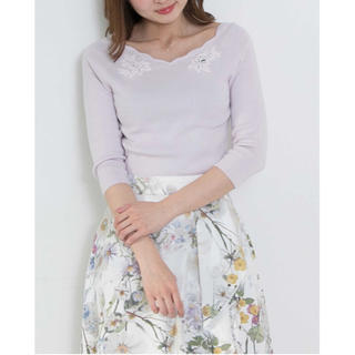 PROPORTION BODY DRESSING - スカラップフラワー刺繍七分袖ニット♡ピンク♡ラベンダー