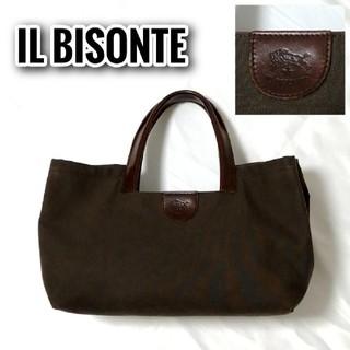 イルビゾンテ(IL BISONTE)の【希少】 IL BISONTE ハンドバッグ ブラウン キャンバス レザー(ハンドバッグ)