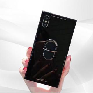 iPhoneケースX/Xs 強化ガラス ブラック スタンドリング付き 鏡面