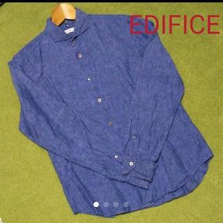 エディフィス(EDIFICE)の美品☆エディフィス リネンシャツ 長袖 Sサイズ(シャツ)