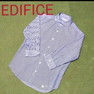 エディフィス(EDIFICE)のEDIFICE エディフィス 7分袖シャツ ネイビーストライプ(シャツ)