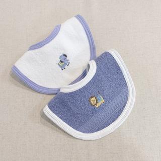 aden+anais - ゾウ、キリン刺繍スタイ 吸水性良いよだれかけ 出産祝い 名前刺繍