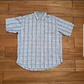 PAPAS パパス コットン 半袖シャツ ①ブルー系チェック柄 M(シャツ)