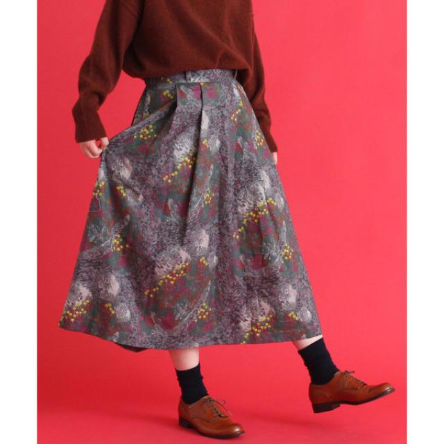 bulle de savon(ビュルデサボン)のうずまく鉱山プリントタックスカート レディースのスカート(ひざ丈スカート)の商品写真