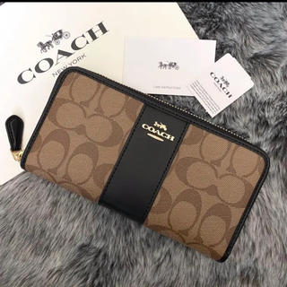 COACH - 新品☆COACH(コーチ)メンズ ブラック カーキ シグネチャー 長財布
