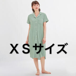 ジーユー(GU)のGU サボン パイルパジャマワンピース XS ライトグリーン ミントグリーン(ロングワンピース/マキシワンピース)