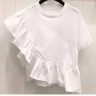 ZARA - アシンメトリー フリル Tシャツ 【4size】