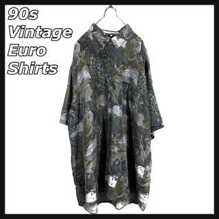 ART VINTAGE - 90s ヴィンテージ Euro ユーロ BDシャツ シルク 総柄 アート 美品