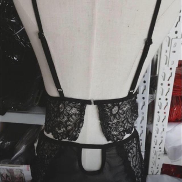 PEACH JOHN(ピーチジョン)のレース下着 ブラック フリーサイズ ブラ ショーツセット ワイヤレス お尻大きめ レディースの下着/アンダーウェア(ブラ&ショーツセット)の商品写真