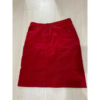 ジーユー(GU)のGU★赤 コーデュロイ スカート(ひざ丈スカート)