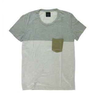 ザラ(ZARA)の送無■程度良好【ZARA】切替半袖Tシャツ メンズ グレー系 M(Tシャツ/カットソー(半袖/袖なし))