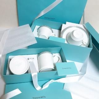 Tiffany & Co. - ティファニー プラチナブルーバンドカップ&ソーサー マグカップ セット