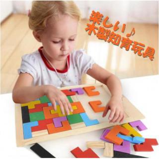木製知育玩具 カラフル バラエティー パズル テトリス ブロック 木製おもちゃ