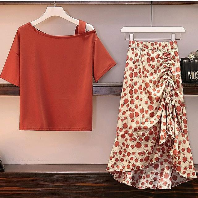 大きいサイズ レディース ワンショルダートップス&スカート セットアップ レディースのスカート(その他)の商品写真