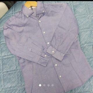 エディフィス(EDIFICE)のEDIFICE エディフィス 7分袖ボタンダウンシャツ ブルー (シャツ)