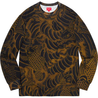 Supreme - 【M】supreme Waves L/S Top black 鯉