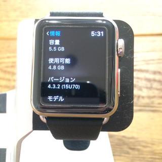 アップルウォッチ(Apple Watch)のApple Watch アップルウォッチ 38mm シルバーステンレス 黒 美品(腕時計(デジタル))