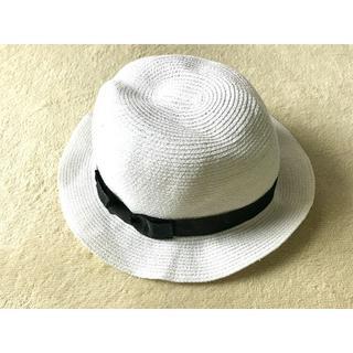 アールユー(RU)の☆ホワイト ネイビーリボン ストローキャップ ティンガロンハット 麦わら帽子☆(麦わら帽子/ストローハット)