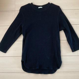 ジーユー(GU)のGU 黒ワッフルTシャツ(Tシャツ/カットソー(七分/長袖))