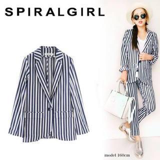 SPIRAL GIRL - 新品未着用 スパイラルガール ストライプジャケット ネイビー