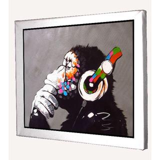 130-バンクシー Banksy 猿 ミュージック キャンバスアート 模写(ボードキャンバス)
