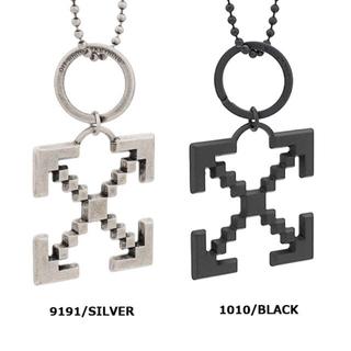 オフホワイト(OFF-WHITE)のOFF-WHITE オフホワイト クロスネックレス CROSS ブラック(ネックレス)