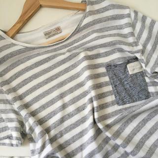 ザラ(ZARA)のZARA BOYS 半袖ボーダーシャツ グレー ボーダーTシャツ 半袖Tシャツ(Tシャツ(半袖/袖なし))