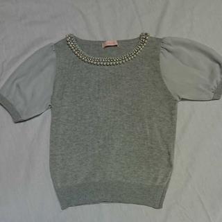 イマージュ(IMAGE)のビジュー付き半袖トップス(Tシャツ(半袖/袖なし))