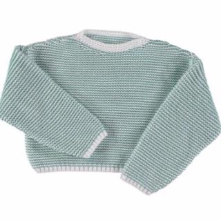 キャラメルベビー&チャイルド(Caramel baby&child )のLiilu -Knit Sweater Offwhite+Mint(ニット/セーター)