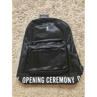 オープニングセレモニー(OPENING CEREMONY)の新品【Opening Ceremony】ブラック ロゴ バックパッグ(リュック)(リュック/バックパック)