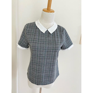 ザラ(ZARA)のフランス購入 jennyfer チェック 襟付きTシャツ 美品(Tシャツ(半袖/袖なし))