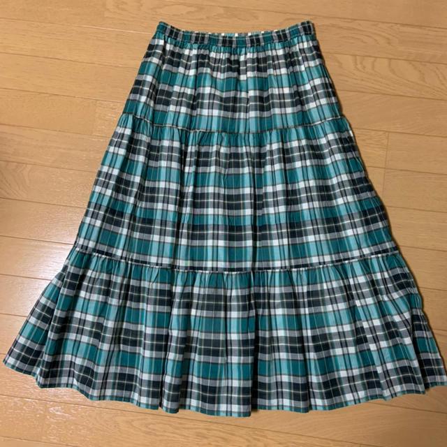 AEON(イオン)のロングスカート Mサイズ チェック 緑系 イオン AEON 新品 未着用 レディースのスカート(ロングスカート)の商品写真
