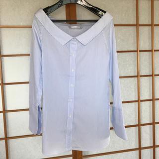 ザラ(ZARA)のZARA オフショルダーブルーストライプシャツ(シャツ/ブラウス(長袖/七分))