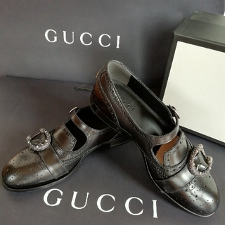 Gucci - 正規店購入 グッチ ブラックレザー カジュアルシューズ 新品、箱付き