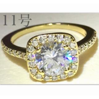 11号.ゴールド.スクエア.パヴェ.指輪.高級AAA CZ大粒ダイヤモンドリング(リング(指輪))