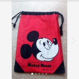 ディズニー(Disney)の★ A4サイズ ミッキーマウス バッグ 袋 レッド 赤 カバン ディズニー(体操着入れ)