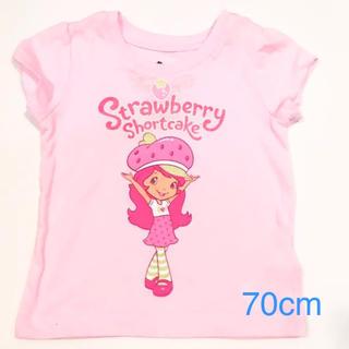 新品サイズ70cmベビー服ストロベリーショートケーキ半袖Tシャツ ピンク(Tシャツ)