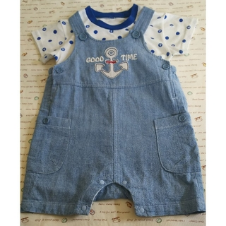 ニシマツヤ(西松屋)の西松屋  サロペット 半袖Tシャツ  セットアップ  サイズ80(カバーオール)