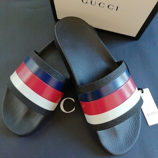 Gucci - 正規直営店購入 グッチ  ストライプ スライド サンダル 26cm 箱付き