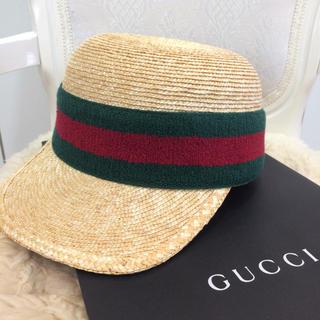 グッチ(Gucci)の☆新品☆グッチ ストローハット  麦わら帽子(麦わら帽子/ストローハット)