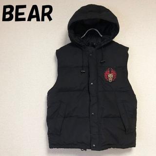 【人気】BEAR/ベアー スカルワッペン付きダウンベスト ブラック サイズM(ダウンベスト)