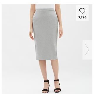 ジーユー(GU)のGU カットソータイトスカート グレー Mサイズ(ひざ丈スカート)
