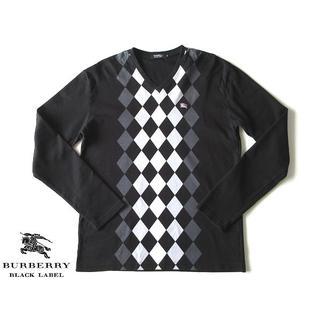 バーバリーブラックレーベル(BURBERRY BLACK LABEL)の希少 バーバリーブラックレーベル ホースロゴ刺繍 アーガイルVネックカットソー(Tシャツ/カットソー(七分/長袖))
