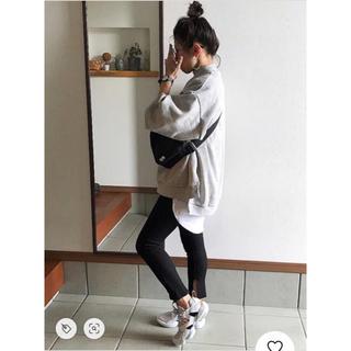 ジーユー(GU)のGU♡レギンス パンツ 黒 ブラック スリット リブ XL(レギンス/スパッツ)