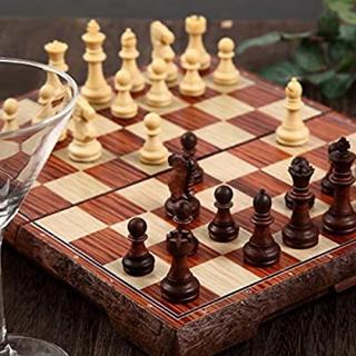 現品1点のみ アンティーク チェス マグネット 木製風 ボード収納可能(オセロ/チェス)