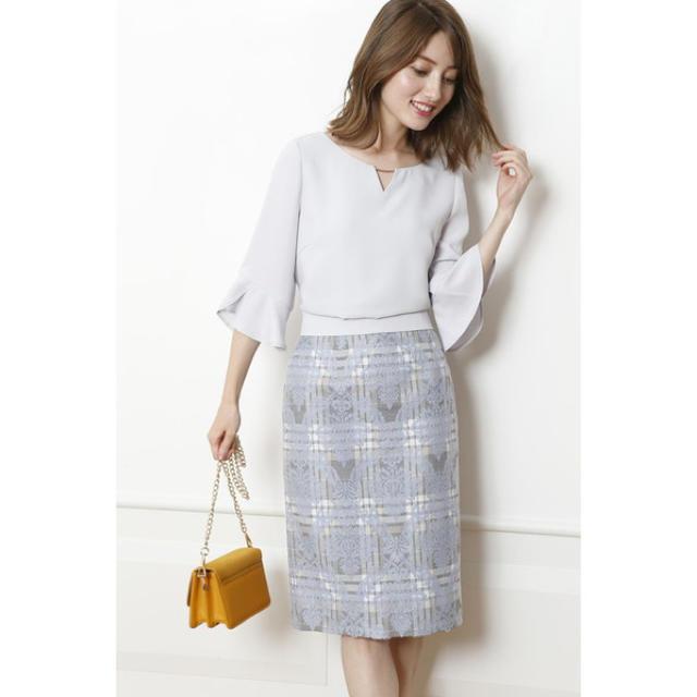 Apuweiser-riche(アプワイザーリッシェ)のアプワイザーリッシェ チェックジャガードタイトスカート レディースのスカート(ひざ丈スカート)の商品写真