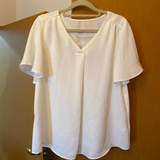 ジーユー(GU)のトップス GU シフォン ブラウス ホワイト M(シャツ/ブラウス(半袖/袖なし))